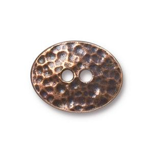 TierraCast Button - Distressed Oval, Antique Copper Plated (Qty: 1)