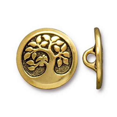 TierraCast Button - Bird in a Tree, Antique Gold Plated (Qty: 1)