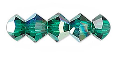 4mm Swarovski Bicones, Emerald AB (Qty: 50)