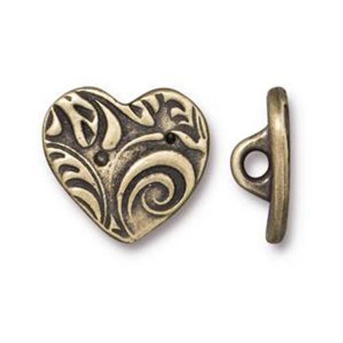 TierraCast Button - Heart, Antique Brass (B-076)