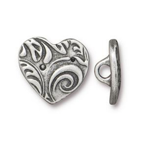TierraCast Button - Heart, Antique Pewter (B-077)