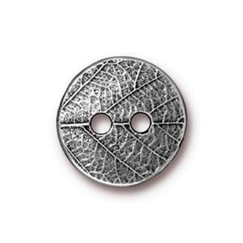 TierraCast Button - Round Leaf, Antique Pewter (B-078)