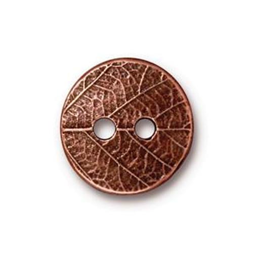 TierraCast Button - Round Leaf, Antique Copper (B-079)