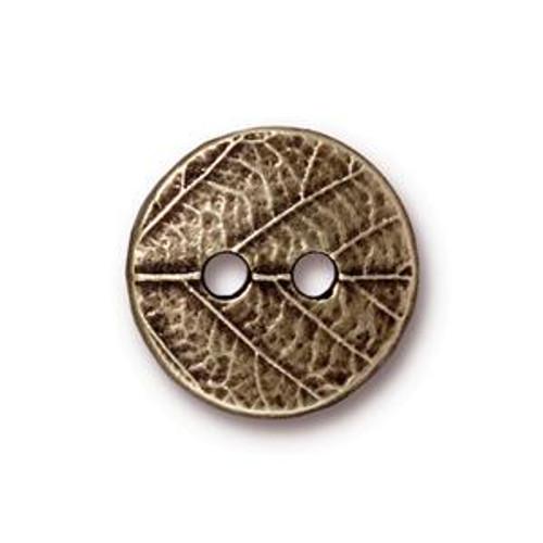 TierraCast Button - Round Leaf, Antique Brass (B-080)
