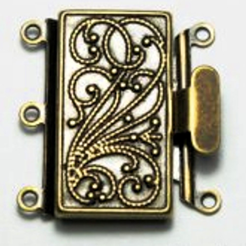 3 Strand Antique Brass Box Clasp (Qty: 1)