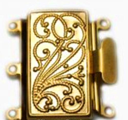 3 Strand Gold Tone Box Clasp (Qty: 1)