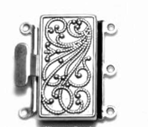 3 Strand Silver Plated Box Clasp (Qty: 1)