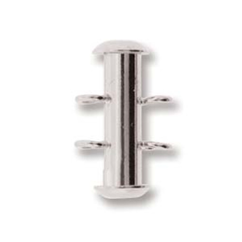 2 Strand Silver Plated Slide Clasp with Vertical Loops (Qty: 1)