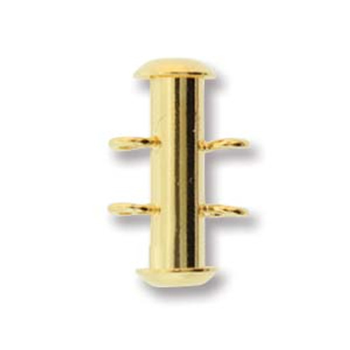 2 Strand Gold Plated Slide Clasp with Vertical Loops (Qty: 1)
