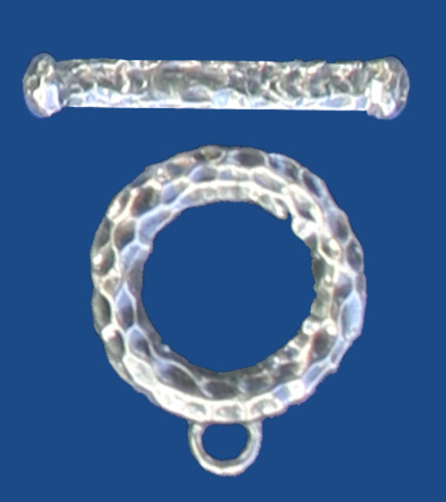 Textured White Bronze Toggle Clasp (Qty: 1)