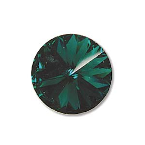 12mm Swarovski Rivoli, Emerald (Qty: 1)