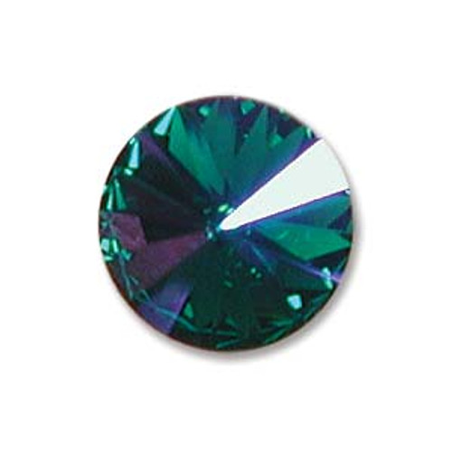 12mm Swarovski Rivoli, Emerald Glacier Blue (Qty: 1)