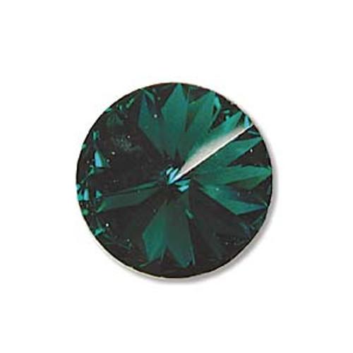 14mm Swarovski Rivoli, Emerald (Qty: 1)