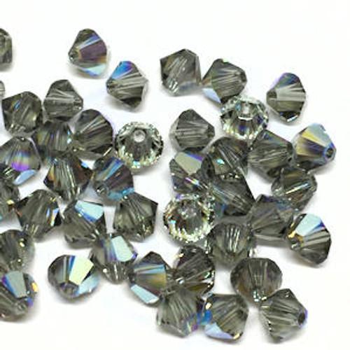 4mm Swarovski Bicones, Black Diamond AB (Qty: 50)