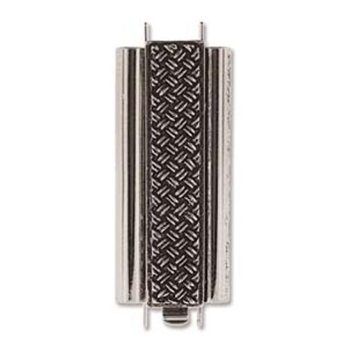 Elegant Elements BeadSlide Clasp, Cross Hatch, Antique Silver, 29mm (Qty: 1)