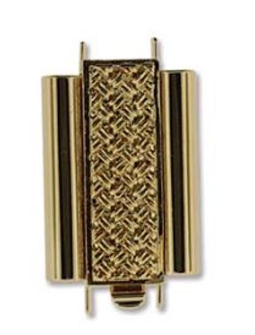 Elegant Elements BeadSlide Clasp, Cross Hatch, Gold Plate, 18mm (Qty: 1)