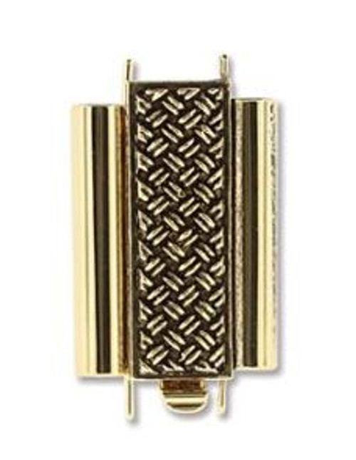 Elegant Elements BeadSlide Clasp, Cross Hatch, Antique Gold, 18mm