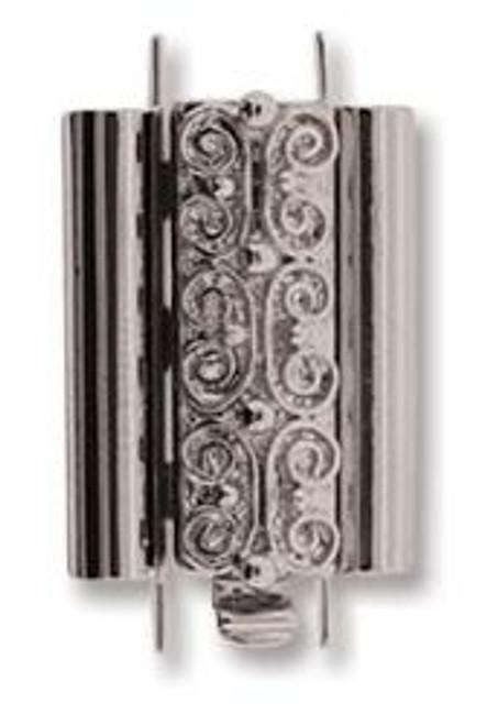 Elegant Elements BeadSlide Clasp, Squiggle, Rhodium, 18mm (Qty: 1)