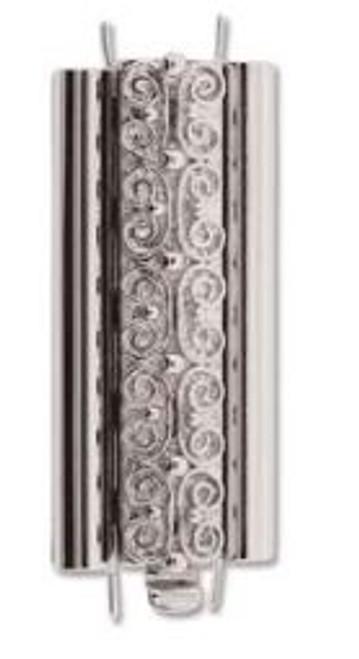 Elegant Elements BeadSlide Clasp, Squiggle, Rhodium, 29mm (Qty: 1)