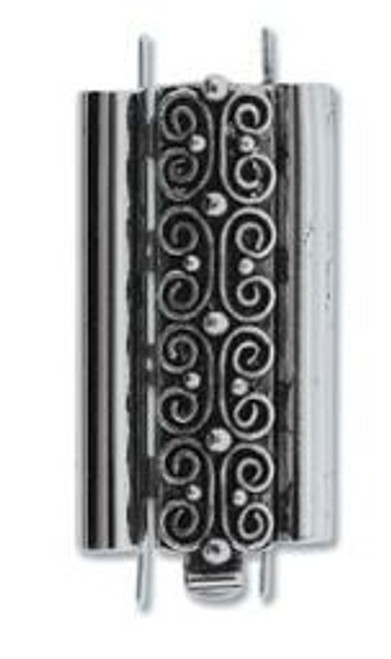 Elegant Elements BeadSlide Clasp, Squiggle, Antique Silver, 24mm (Qty: 1)