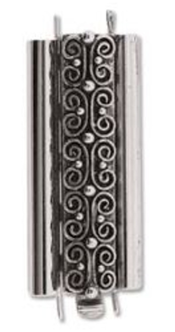 Elegant Elements BeadSlide Clasp, Squiggle, Antique Silver, 29mm (Qty: 1)