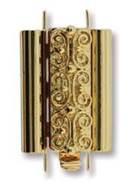 Elegant Elements BeadSlide Clasp, Squiggle, Gold Plated, 18mm (Qty: 1)