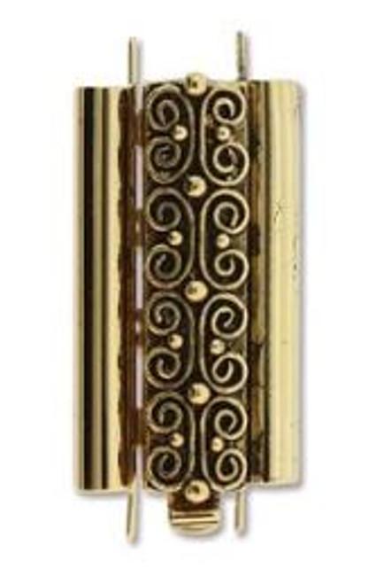 Elegant Elements BeadSlide Clasp, Squiggle, Antique Gold, 24mm (Qty: 1)