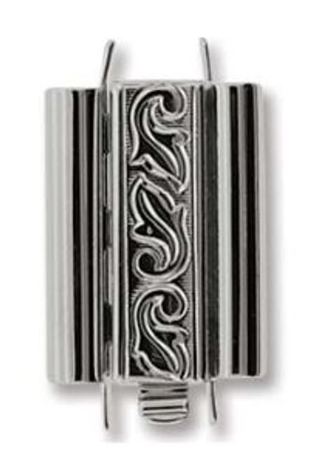Elegant Elements BeadSlide Clasp, Swirl, Rhodium, 18mm (Qty: 1)