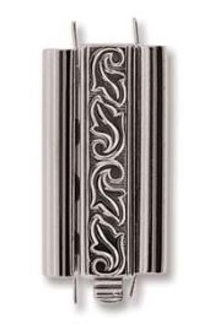 Elegant Elements BeadSlide Clasp, Swirl, Rhodium, 24mm (Qty: 1)