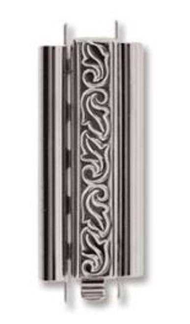 Elegant Elements BeadSlide Clasp, Swirl, Rhodium, 29mm (Qty: 1)