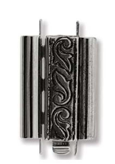 Elegant Elements BeadSlide Clasp, Swirl, Antique Silver, 18mm (Qty: 1)
