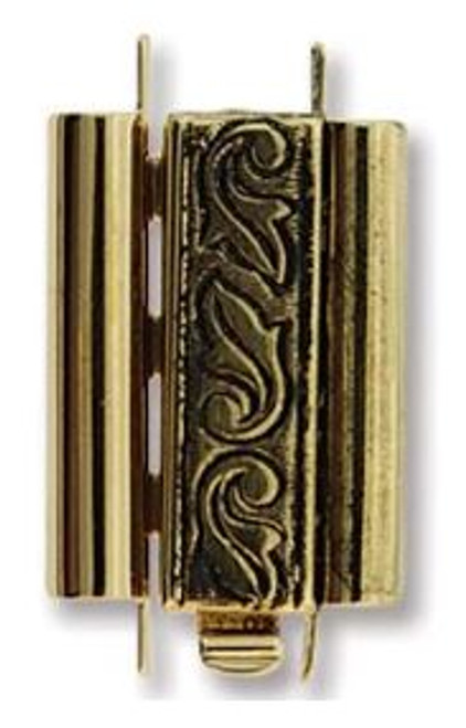 Elegant Elements BeadSlide Clasp, Swirl, Antique Gold, 18mm