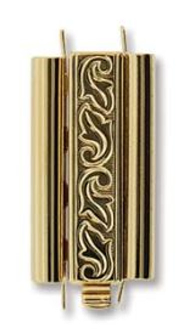 Elegant Elements BeadSlide Clasp, Swirl, Gold Plated, 24mm (Qty: 1)