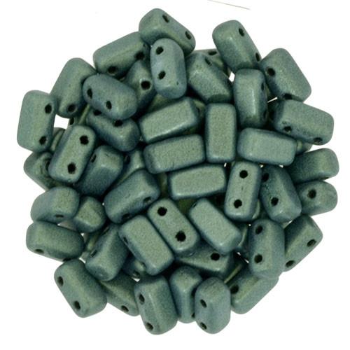 2-Hole Brick Beads, Light Green Metallic Suede (Qty: 25)