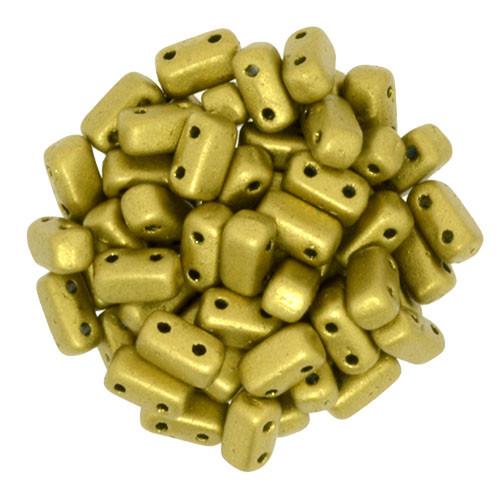 2-Hole Brick Beads, Matte Metallic Aztec Gold  (Qty: 25)