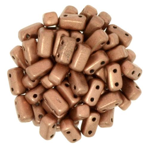 2-Hole Brick Beads, Matte Metallic Copper (Qty: 25)