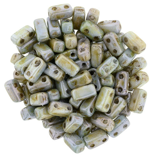 2-Hole Brick Beads, Opaque Green Luster (Qty: 25)