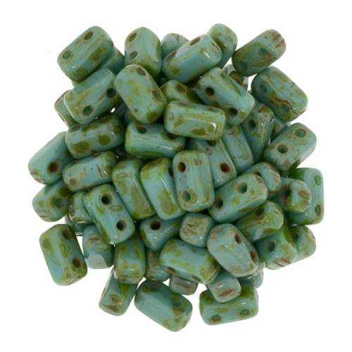 2-Hole Brick Beads, Persian Turquoise Picasso (Qty: 25)