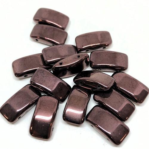 Carrier Beads, Czech Glass, 2-hole, Purple Bronze (Qty. 15)