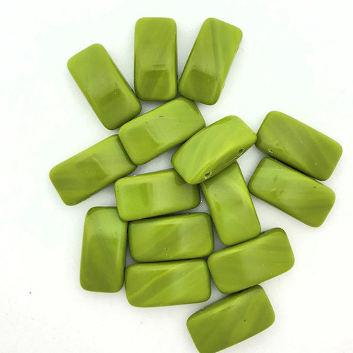 Carrier Beads, Czech Glass, 2-hole, Wasabi (Qty. 15)