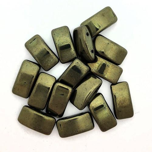 Carrier Beads, Czech Glass, 2-hole, Metallic Green (Qty: 15)