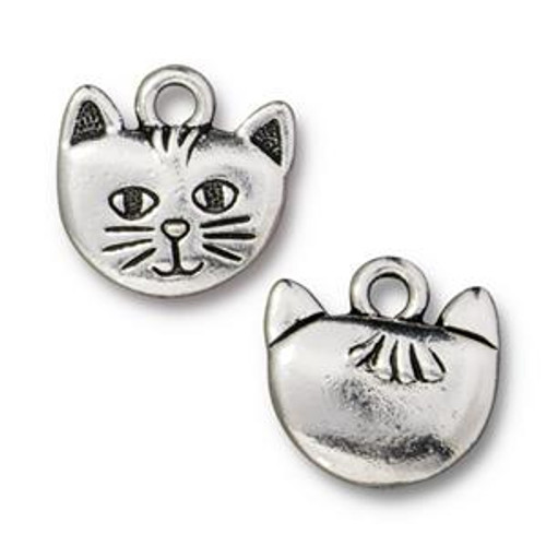 TierraCast Kitty Whiskers Charm, Antique Silver-Plated, 14 x 13.9mm (Qty: 1)