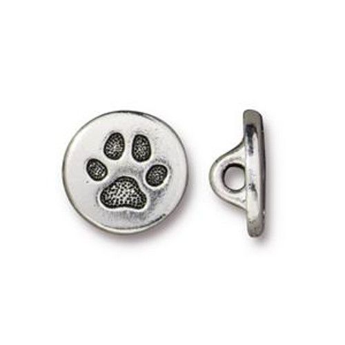 TierraCast Paw Print Button, Silver Plated Pewter (12mm) (B-084)