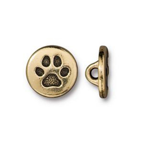 TierraCast Paw Print Button, Gold Plated Pewter (12mm)(B-085)