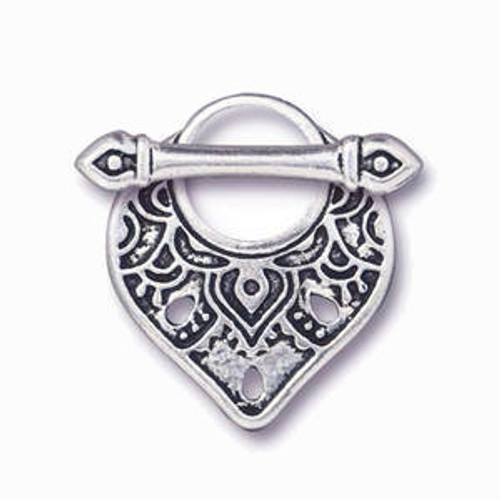 TierraCast Teardrop-Shaped Toggle Clasp, Silver Plated, 18x22mm (Qty: 1)