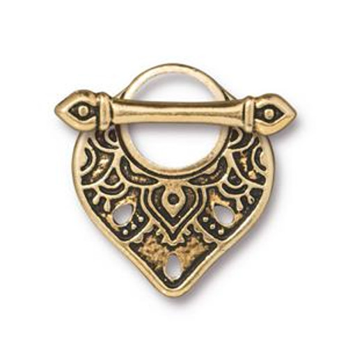 TierraCast Teardrop-Shaped Toggle Clasp, Gold Plated, 18x22mm (Qty: 1)