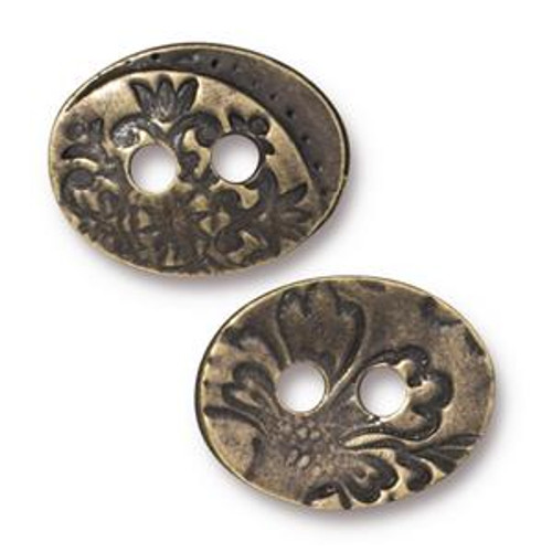 TierraCast Button - Jardin, Brass-Plated, 13.7mm x 17.7mm (Qty: 1)