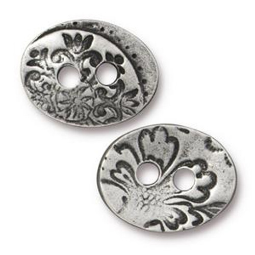 TierraCast Jardin Button, Antique Pewter-Plated, 13.7mm x 17.7mm (Qty: 1)