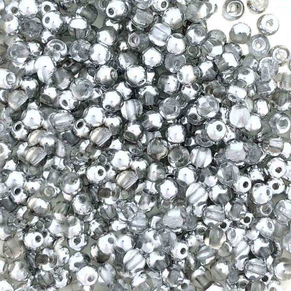 3mm Round Glass Beads, Crystal Labrador Half Coat (Qty: 50)