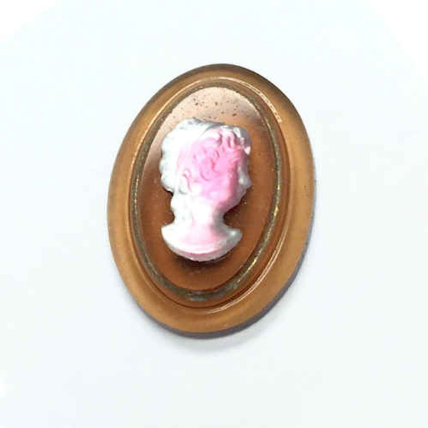 West German Rare  Cameo, Crystal/Pink Givre on Amber Background, Right Facing (18 x 13mm)